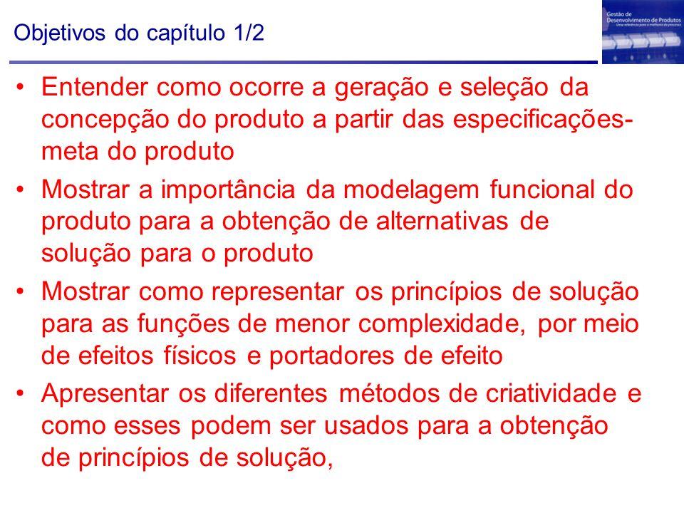 Objetivos do capítulo 1/2 Entender como ocorre a geração e seleção da concepção do produto a partir das especificações- meta do produto Mostrar a impo