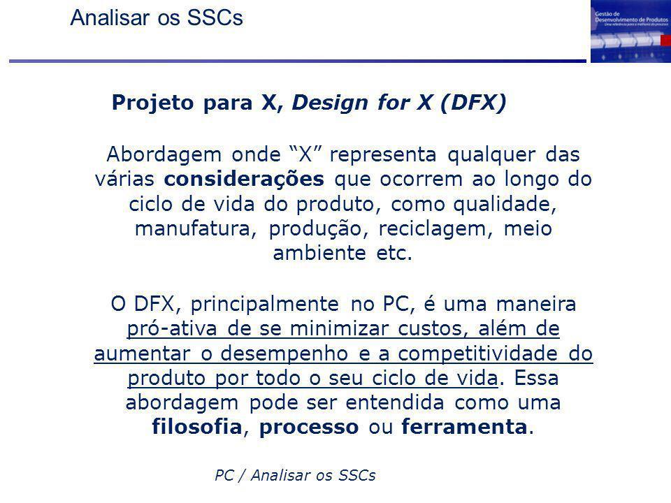 PC / Analisar os SSCs Projeto para X, Design for X (DFX) Abordagem onde X representa qualquer das várias considerações que ocorrem ao longo do ciclo d