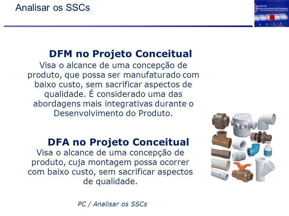 PC / Analisar os SSCs DFM no Projeto Conceitual Visa o alcance de uma concepção de produto, que possa ser manufaturado com baixo custo, sem sacrificar