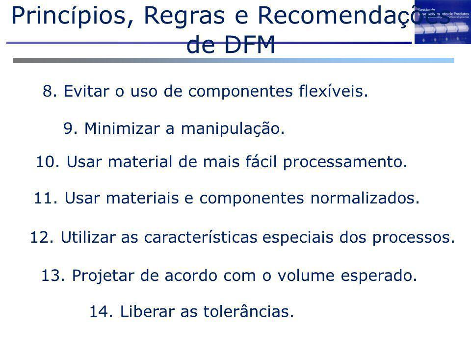 8. Evitar o uso de componentes flexíveis. 9. Minimizar a manipulação. 10. Usar material de mais fácil processamento. 11. Usar materiais e componentes