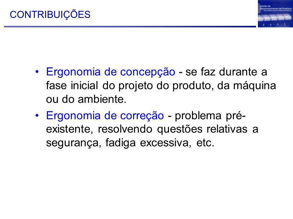 41 CONTRIBUIÇÕES Ergonomia de concepção - se faz durante a fase inicial do projeto do produto, da máquina ou do ambiente. Ergonomia de correção - prob