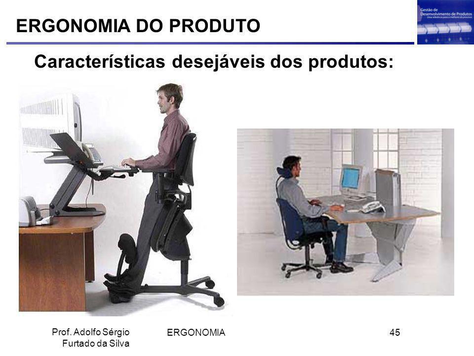 ERGONOMIA45 Prof. Adolfo Sérgio Furtado da Silva ERGONOMIA DO PRODUTO Características desejáveis dos produtos: