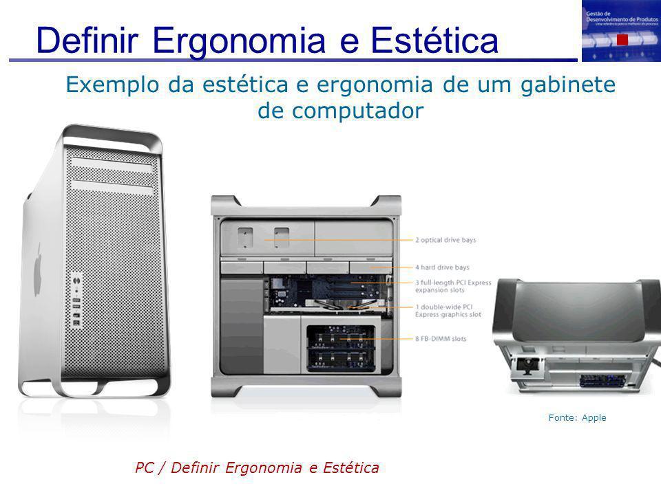 Definir Ergonomia e Estética Fonte: Apple Exemplo da estética e ergonomia de um gabinete de computador PC / Definir Ergonomia e Estética