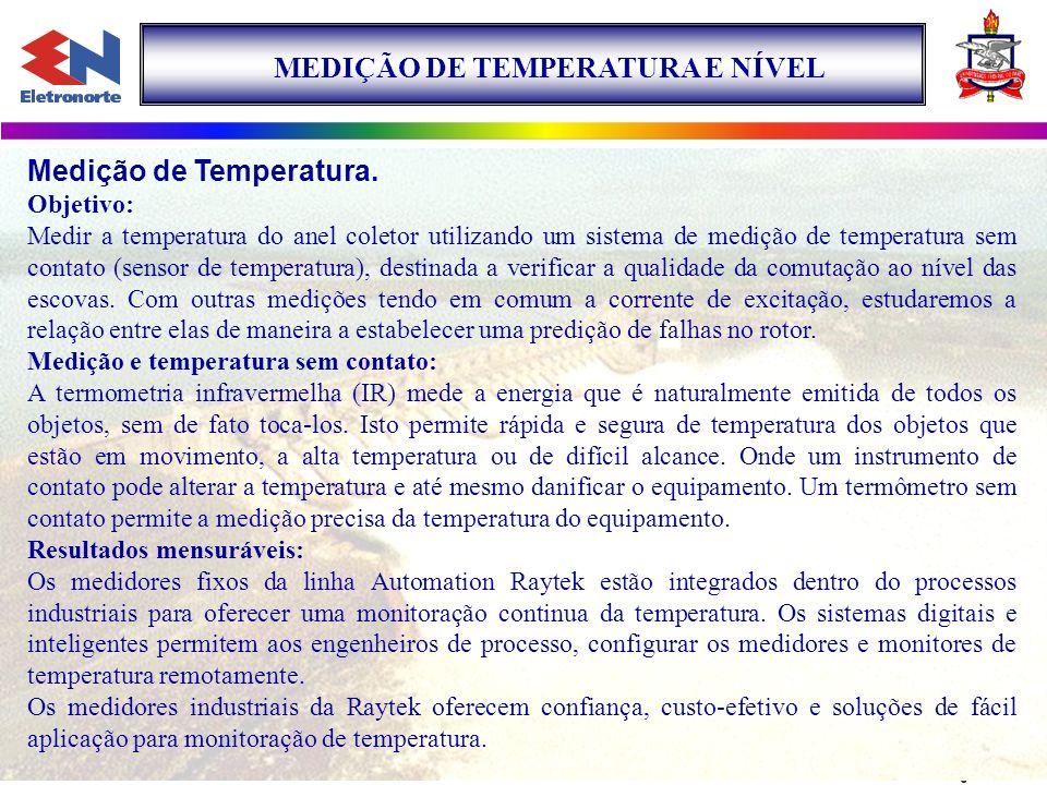 MEDIÇÃO DE TEMPERATURA E NÍVEL Medição de Temperatura. Objetivo: Medir a temperatura do anel coletor utilizando um sistema de medição de temperatura s