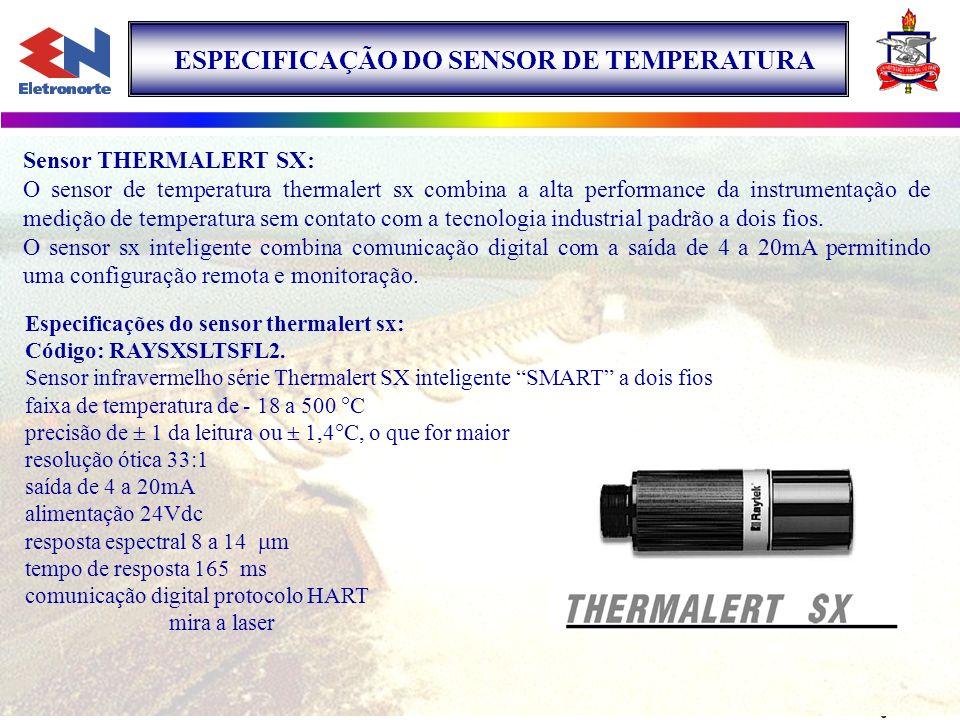 LOCAL DE INSTALAÇÃO O sensor de temperatura THERMALERT SX foi instalado na Unidade Geradora Hidráulica Nº 1 (UGH1) daUsina Hidrelétrica de Tucuruí, para medir a temperatura no anel coletor da.