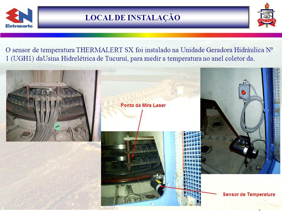 LOCAL DE INSTALAÇÃO O sensor de temperatura THERMALERT SX foi instalado na Unidade Geradora Hidráulica Nº 1 (UGH1) daUsina Hidrelétrica de Tucuruí, pa