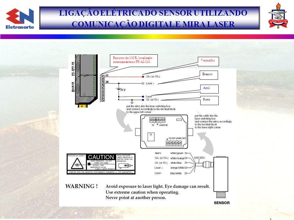 Branco Azul Preto Resistor de 100 R, localizado internamente no FP-AI-110. Vermelho LIGAÇÃO ELÉTRICA DO SENSOR UTILIZANDO COMUNICAÇÃO DIGITAL E MIRA L