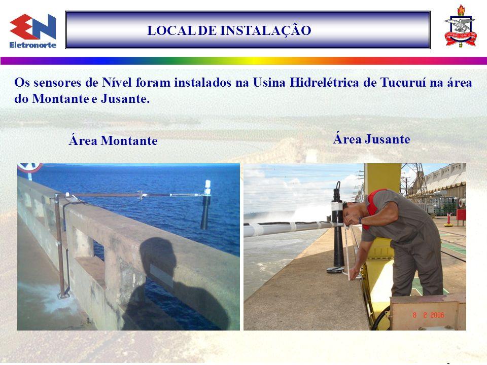 LOCAL DE INSTALAÇÃO Os sensores de Nível foram instalados na Usina Hidrelétrica de Tucuruí na área do Montante e Jusante. Área Montante Área Jusante