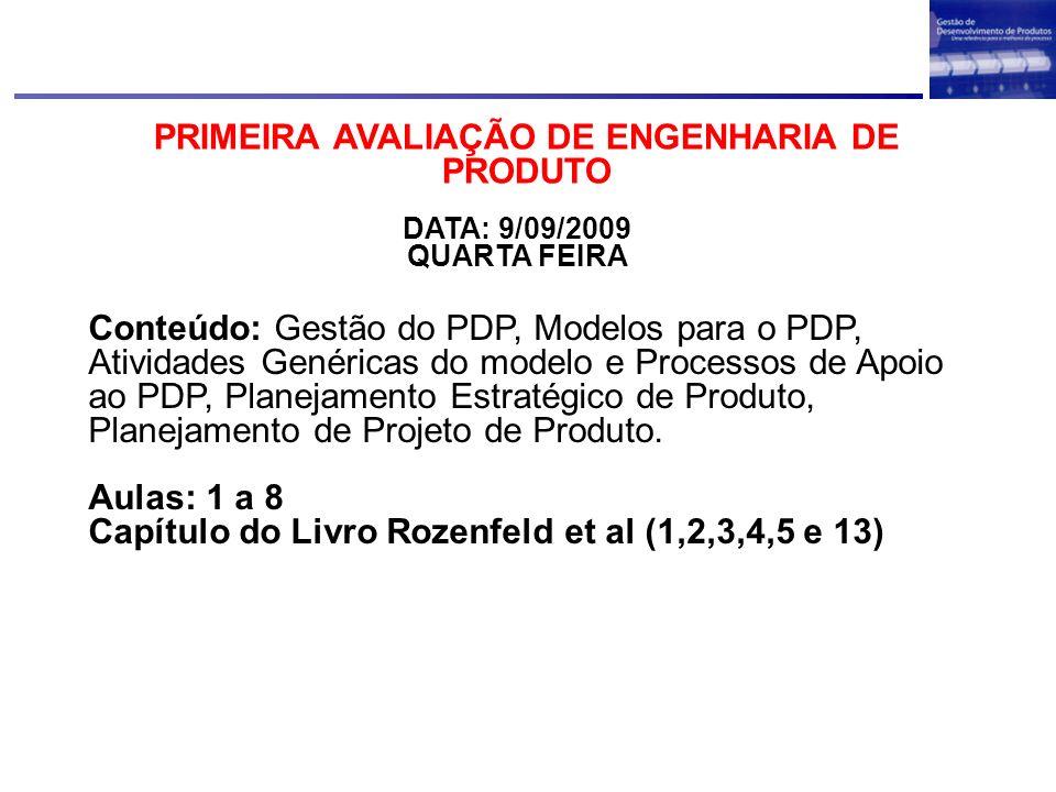 PRIMEIRA AVALIAÇÃO DE ENGENHARIA DE PRODUTO DATA: 9/09/2009 QUARTA FEIRA Conteúdo: Gestão do PDP, Modelos para o PDP, Atividades Genéricas do modelo e