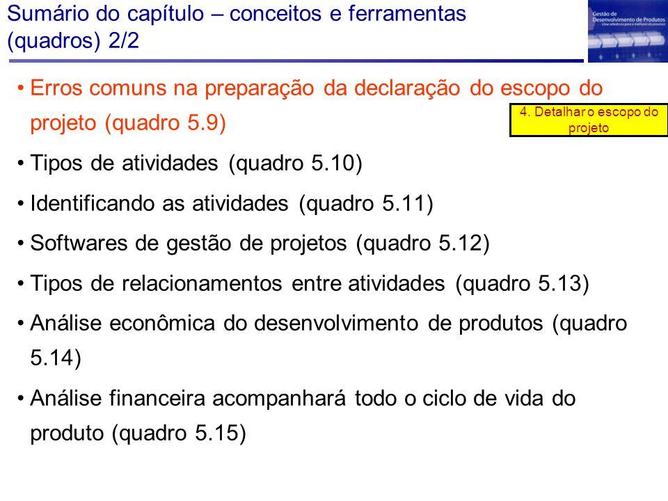 Sumário do capítulo – conceitos e ferramentas (quadros) 2/2 Erros comuns na preparação da declaração do escopo do projeto (quadro 5.9) Tipos de ativid