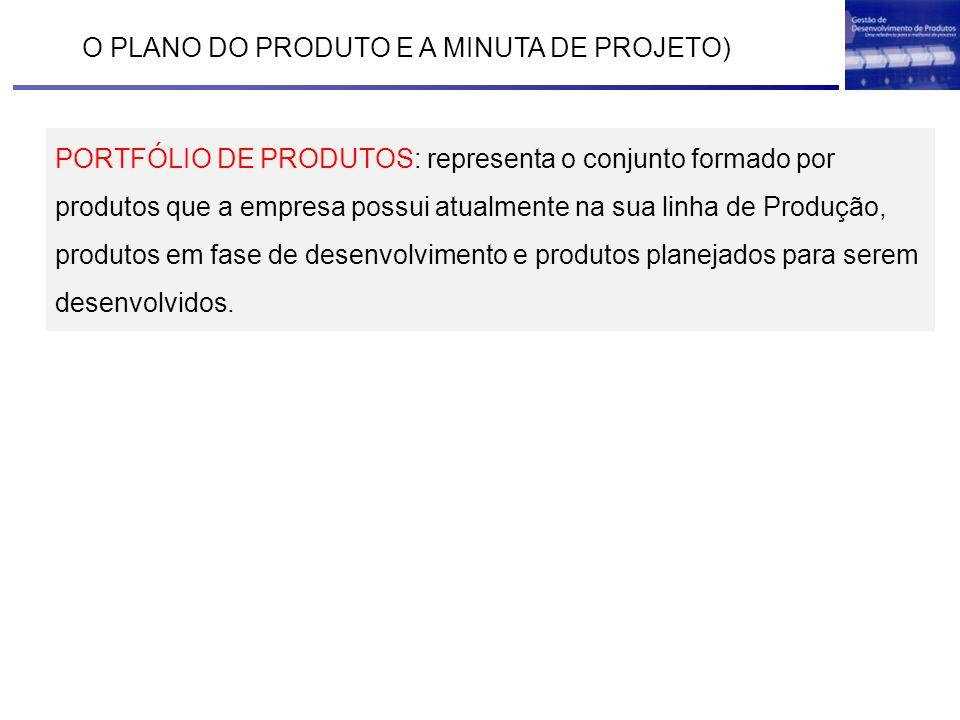 O PLANO DO PRODUTO E A MINUTA DE PROJETO) PORTFÓLIO DE PRODUTOS: representa o conjunto formado por produtos que a empresa possui atualmente na sua lin