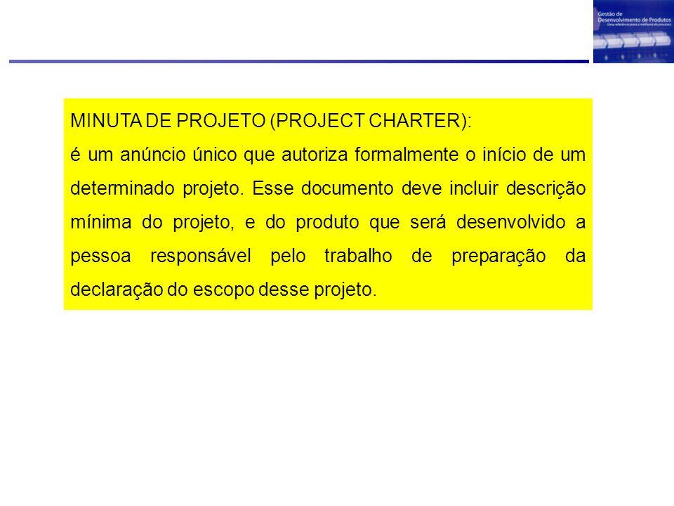 MINUTA DE PROJETO (PROJECT CHARTER): é um anúncio único que autoriza formalmente o início de um determinado projeto. Esse documento deve incluir descr