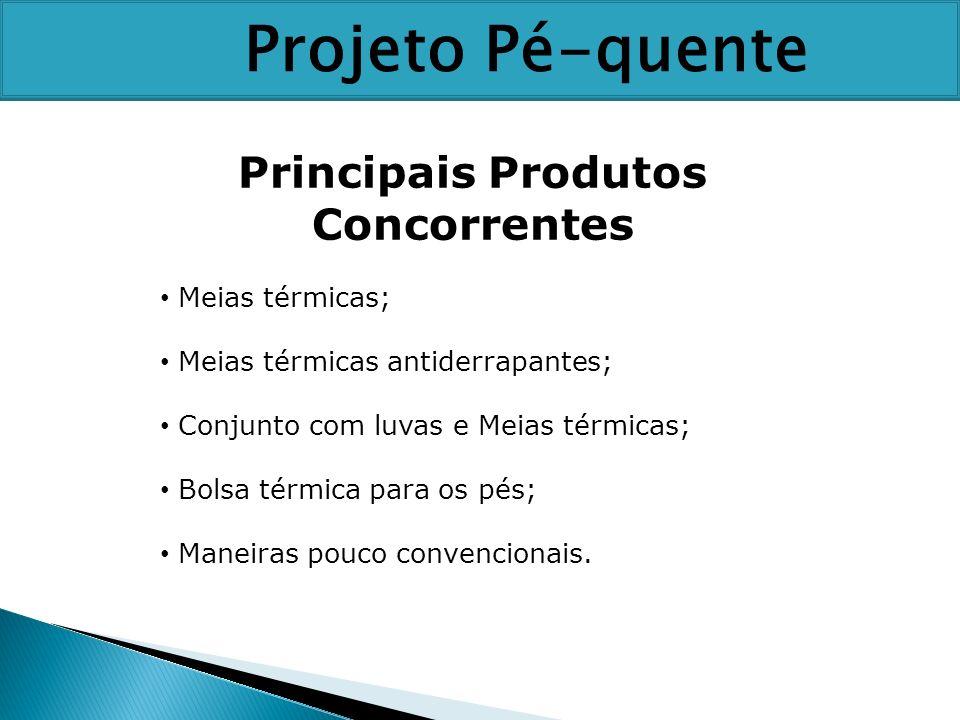 Principais Produtos Concorrentes Meias térmicas; Meias térmicas antiderrapantes; Conjunto com luvas e Meias térmicas; Bolsa térmica para os pés; Manei
