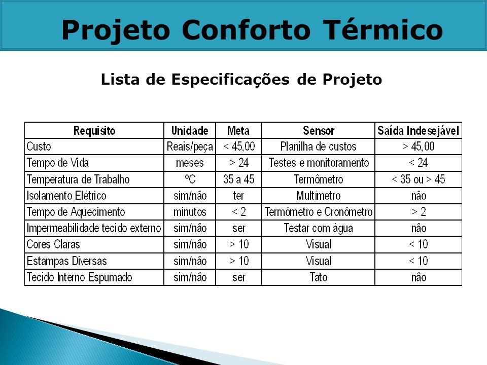 Lista de Especificações de Projeto Projeto Conforto Térmico