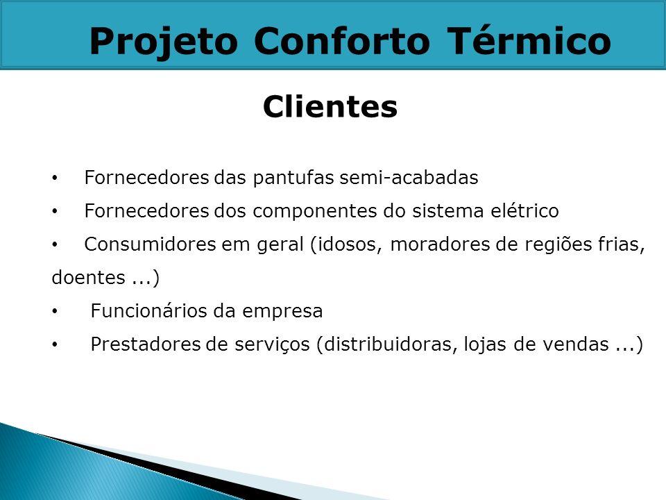 Clientes Fornecedores das pantufas semi-acabadas Fornecedores dos componentes do sistema elétrico Consumidores em geral (idosos, moradores de regiões