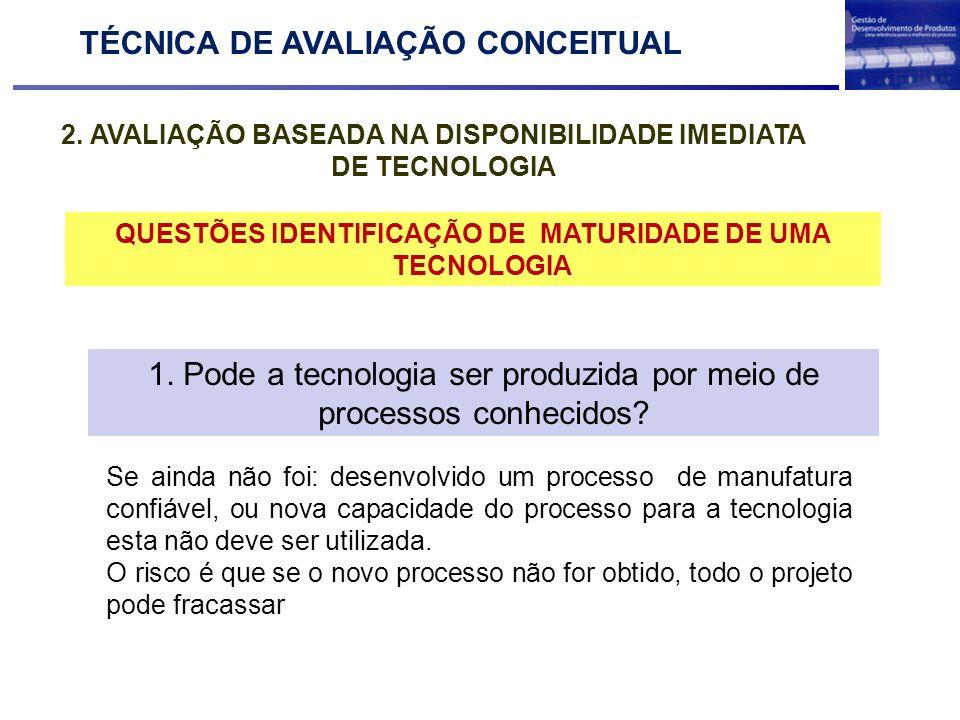 2. AVALIAÇÃO BASEADA NA DISPONIBILIDADE IMEDIATA DE TECNOLOGIA TÉCNICA DE AVALIAÇÃO CONCEITUAL Maturidade de uma Tecnologia QUESTÕES