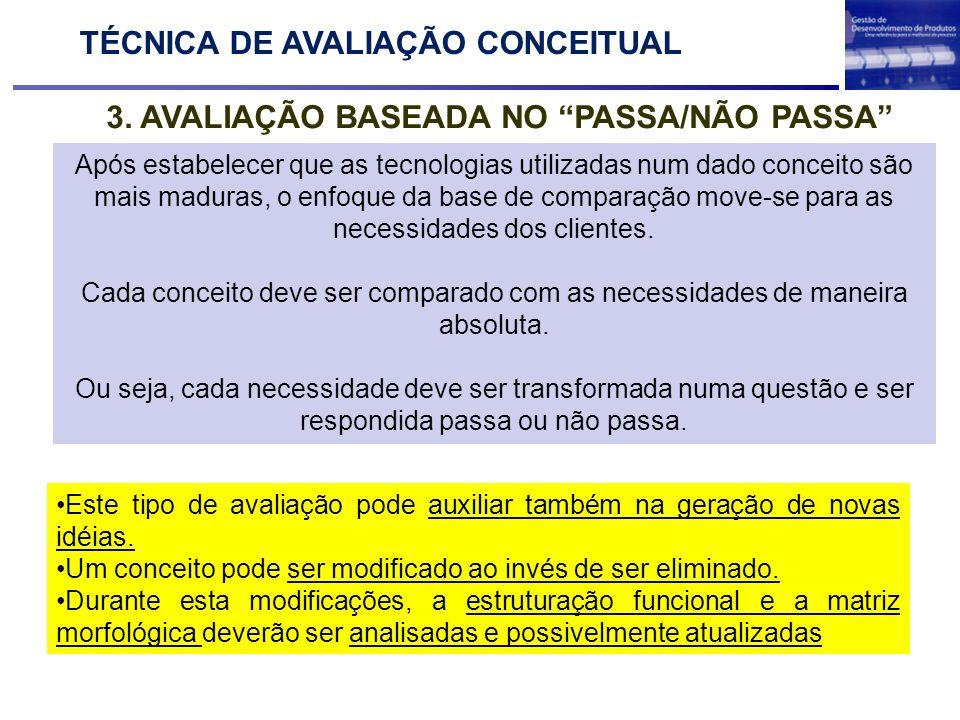 2. AVALIAÇÃO BASEADA NO PASSA/NÃO PASSA TÉCNICA DE AVALIAÇÃO CONCEITUAL