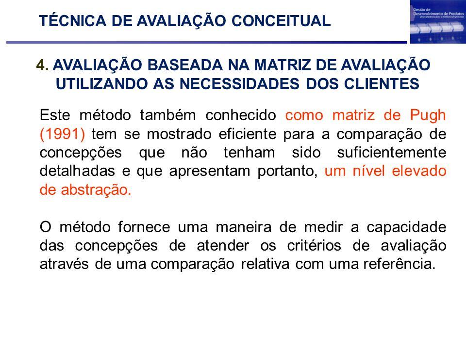 4. AVALIAÇÃO BASEADA NA MATRIZ DE AVALIAÇÃO UTILIZANDO AS NECESSIDADES DOS CLIENTES TÉCNICA DE AVALIAÇÃO CONCEITUAL