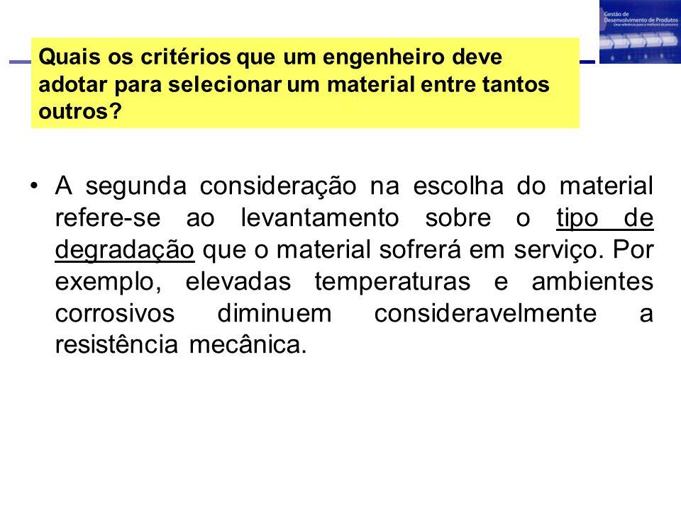 Quais os critérios que um engenheiro deve adotar para selecionar um material entre tantos outros.
