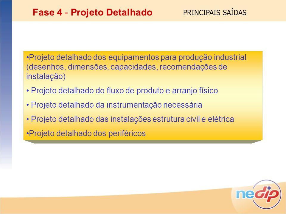 Projeto detalhado dos equipamentos para produção industrial (desenhos, dimensões, capacidades, recomendações de instalação) Projeto detalhado do fluxo