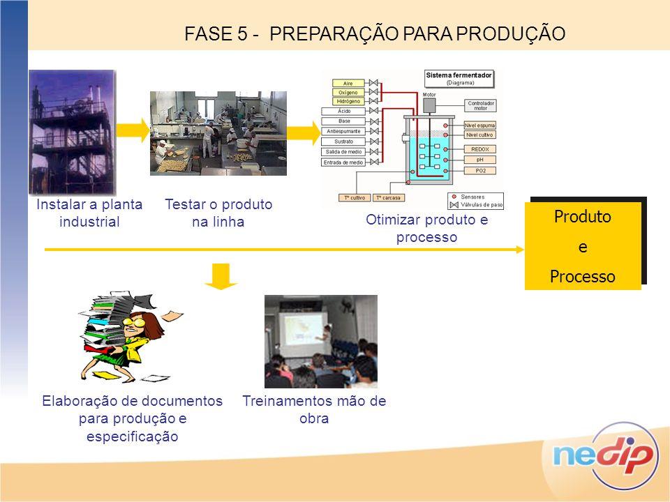 Instalar a planta industrial Testar o produto na linha Otimizar produto e processo Elaboração de documentos para produção e especificação Treinamentos