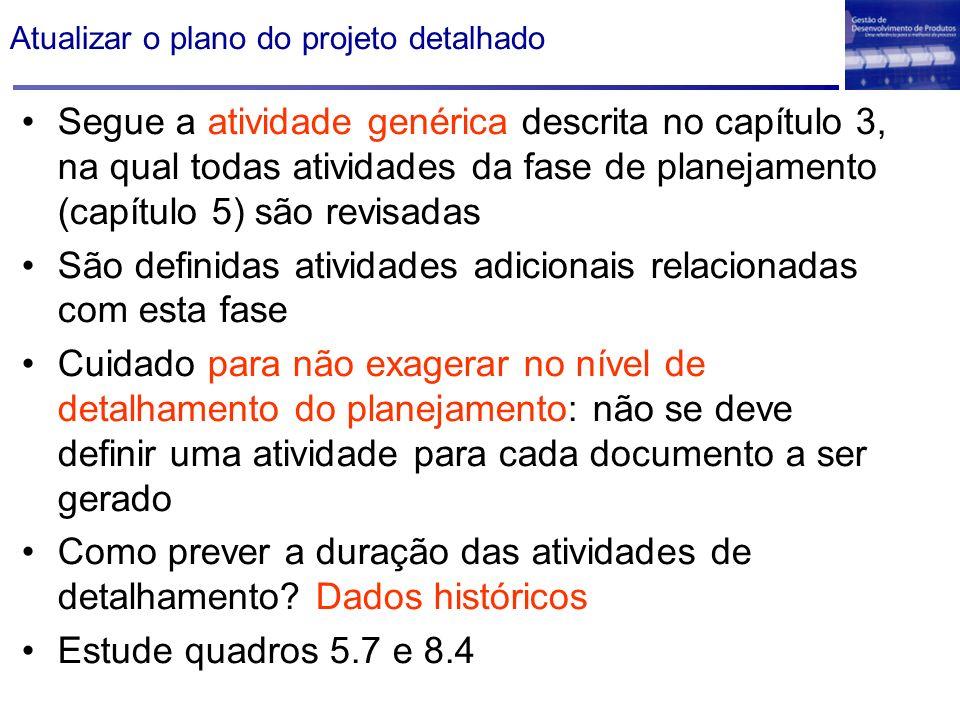 Atualizar o plano do projeto detalhado Segue a atividade genérica descrita no capítulo 3, na qual todas atividades da fase de planejamento (capítulo 5