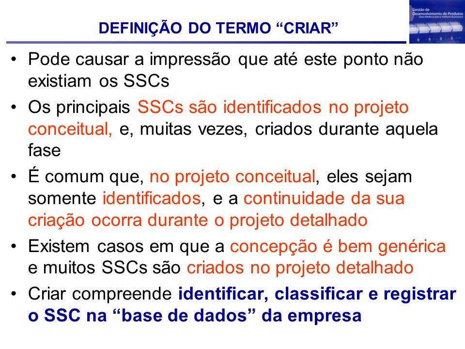 DEFINIÇÃO DO TERMO CRIAR Pode causar a impressão que até este ponto não existiam os SSCs Os principais SSCs são identificados no projeto conceitual, e