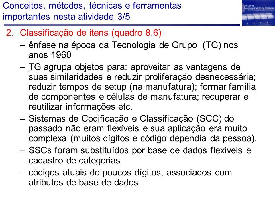 Conceitos, métodos, técnicas e ferramentas importantes nesta atividade 3/5 2.Classificação de itens (quadro 8.6) –ênfase na época da Tecnologia de Gru