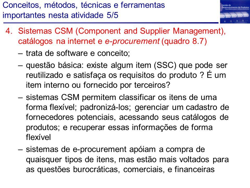 Conceitos, métodos, técnicas e ferramentas importantes nesta atividade 5/5 4.Sistemas CSM (Component and Supplier Management), catálogos na internet e