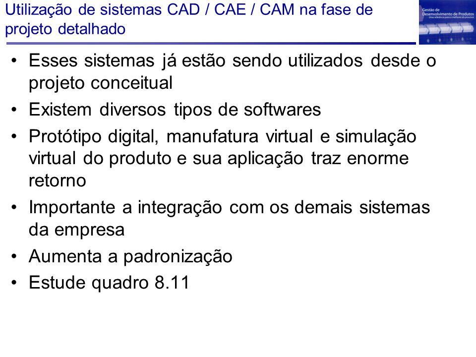 Utilização de sistemas CAD / CAE / CAM na fase de projeto detalhado Esses sistemas já estão sendo utilizados desde o projeto conceitual Existem divers