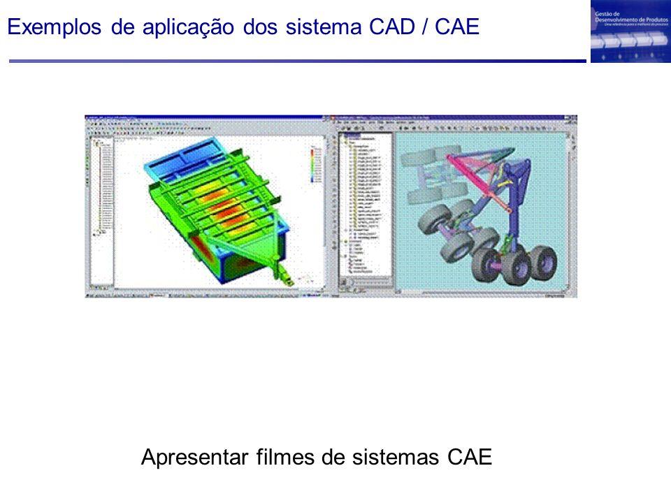 Exemplos de aplicação dos sistema CAD / CAE Apresentar filmes de sistemas CAE