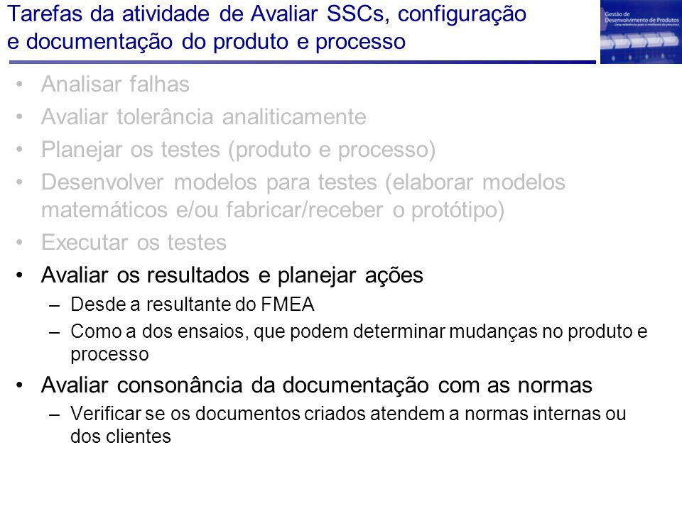 Tarefas da atividade de Avaliar SSCs, configuração e documentação do produto e processo Analisar falhas Avaliar tolerância analiticamente Planejar os