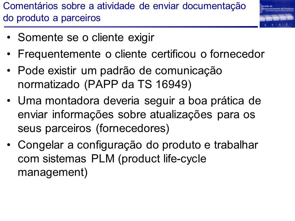 Comentários sobre a atividade de enviar documentação do produto a parceiros Somente se o cliente exigir Frequentemente o cliente certificou o forneced