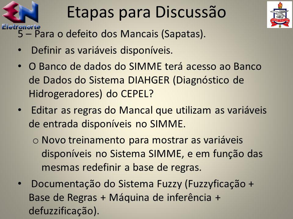 5 – Para o defeito dos Mancais (Sapatas). Definir as variáveis disponíveis. O Banco de dados do SIMME terá acesso ao Banco de Dados do Sistema DIAHGER