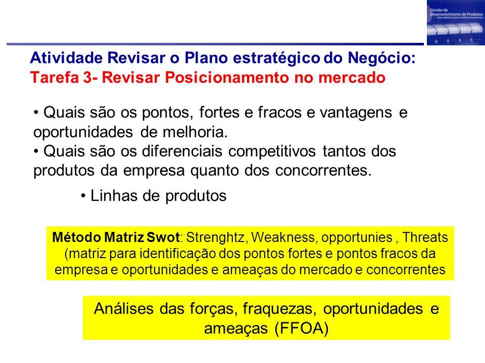 Atividade Revisar o Plano estratégico do Negócio: Tarefa 3- Revisar Posicionamento no mercado Quais são os pontos, fortes e fracos e vantagens e oport