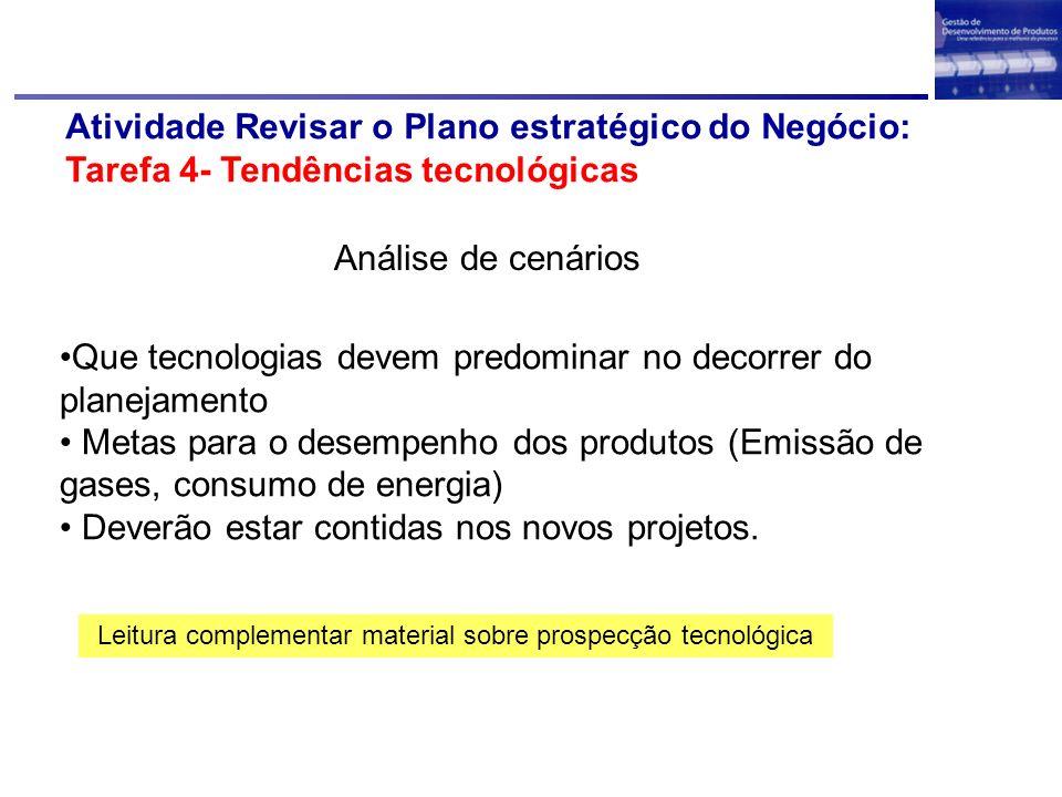 Atividade Revisar o Plano estratégico do Negócio: Tarefa 4- Tendências tecnológicas Análise de cenários Leitura complementar material sobre prospecção