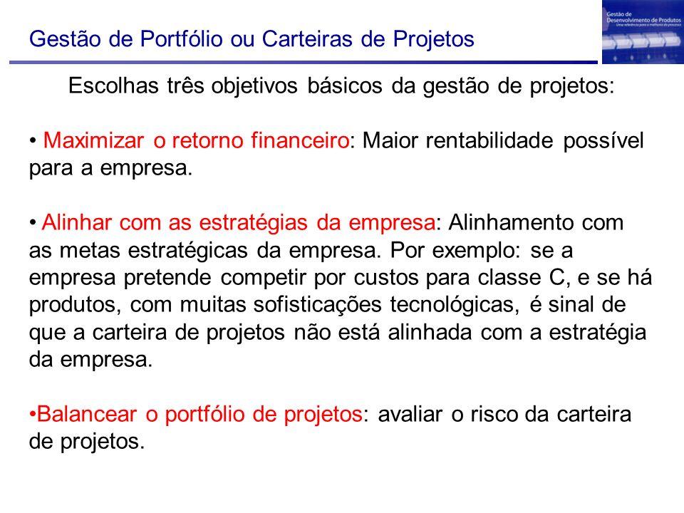 Gestão de Portfólio ou Carteiras de Projetos Escolhas três objetivos básicos da gestão de projetos: Maximizar o retorno financeiro: Maior rentabilidad