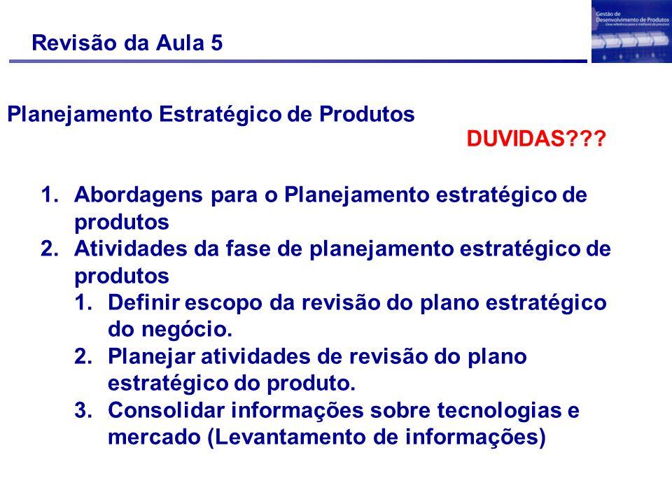 Revisão da Aula 5 Planejamento Estratégico de Produtos 1.Abordagens para o Planejamento estratégico de produtos 2.Atividades da fase de planejamento e