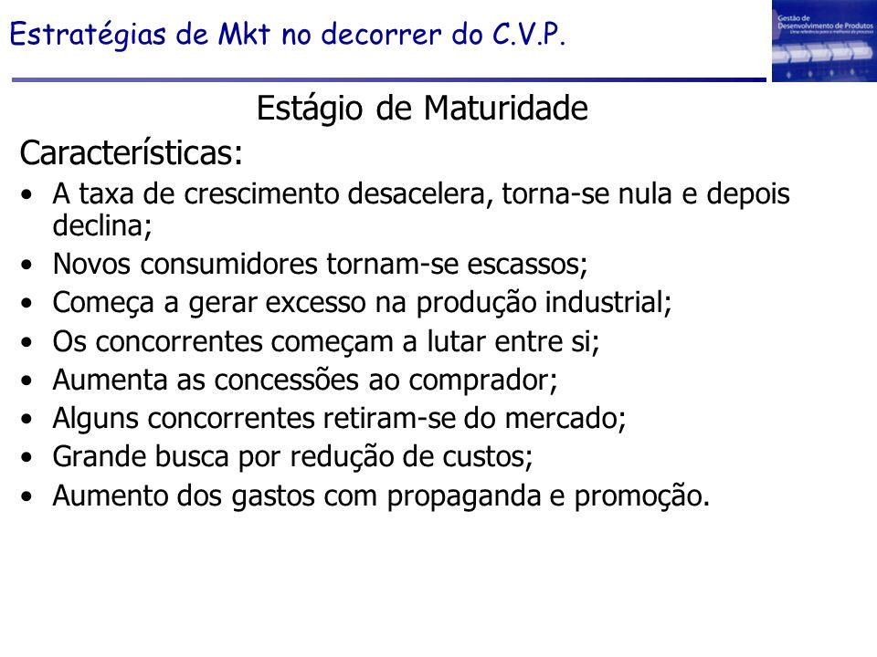 Estratégias de Mkt no decorrer do C.V.P. Estágio de Maturidade Características: A taxa de crescimento desacelera, torna-se nula e depois declina; Novo