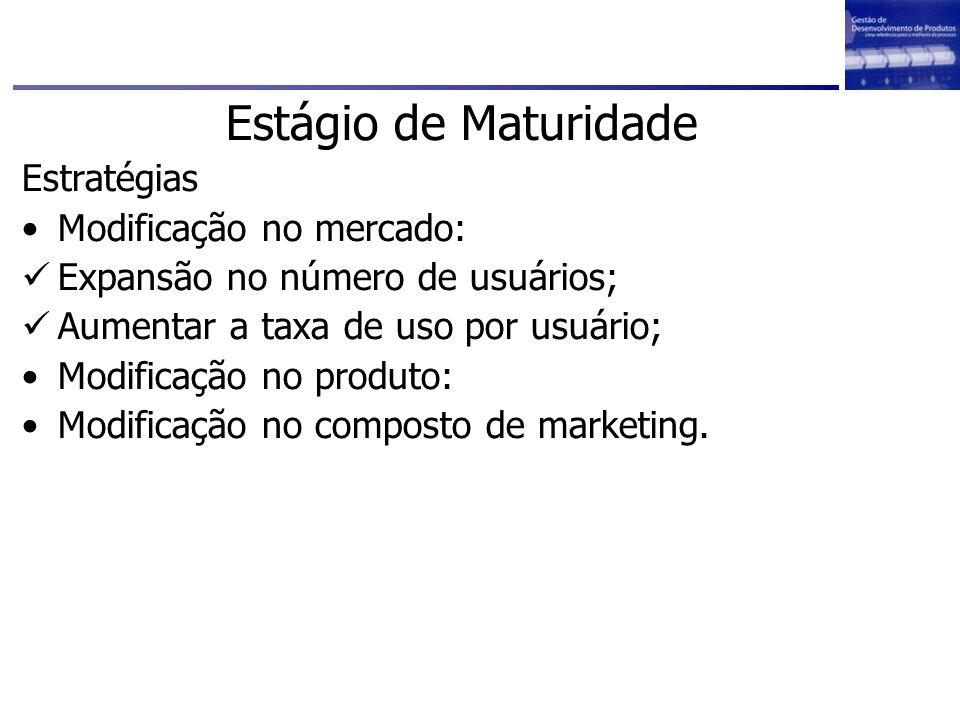 Estágio de Maturidade Estratégias Modificação no mercado: Expansão no número de usuários; Aumentar a taxa de uso por usuário; Modificação no produto: