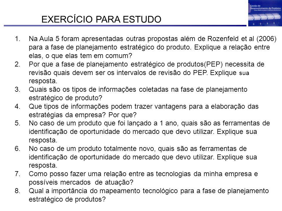 EXERCÍCIO PARA ESTUDO 1.Na Aula 5 foram apresentadas outras propostas além de Rozenfeld et al (2006) para a fase de planejamento estratégico do produt