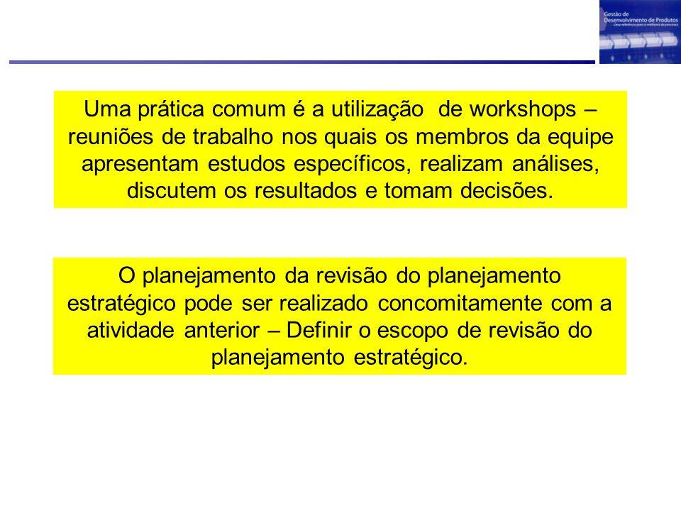Uma prática comum é a utilização de workshops – reuniões de trabalho nos quais os membros da equipe apresentam estudos específicos, realizam análises,