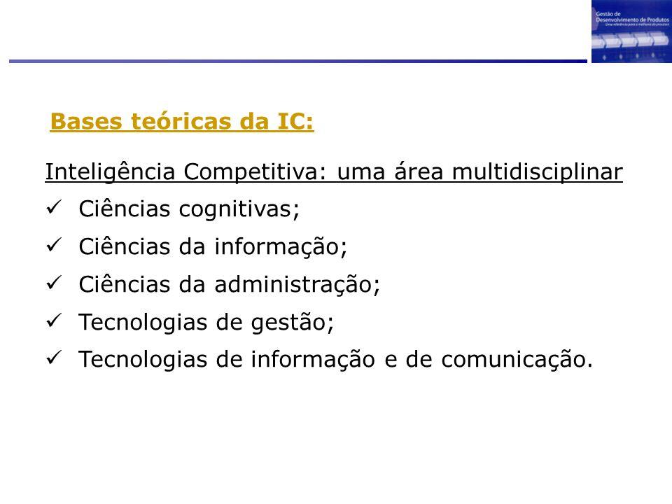Bases teóricas da IC: Inteligência Competitiva: uma área multidisciplinar Ciências cognitivas; Ciências da informação; Ciências da administração; Tecn