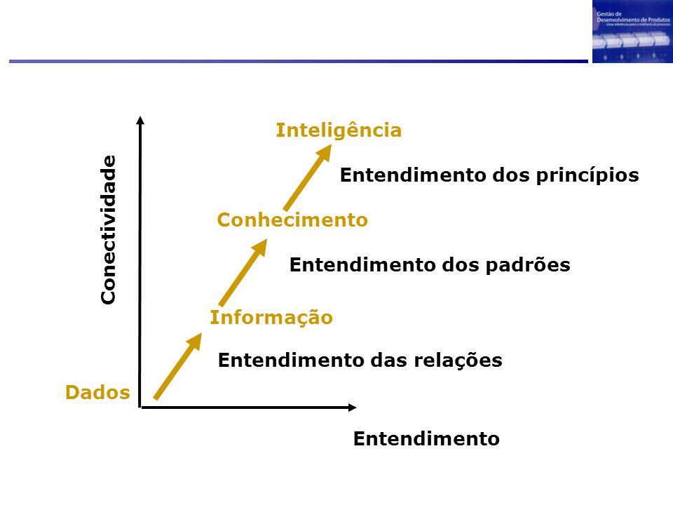 Dados Informação Conhecimento Inteligência Conectividade Entendimento Entendimento das relações Entendimento dos padrões Entendimento dos princípios