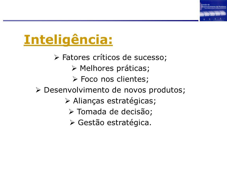 Inteligência: Fatores críticos de sucesso; Melhores práticas; Foco nos clientes; Desenvolvimento de novos produtos; Alianças estratégicas; Tomada de d