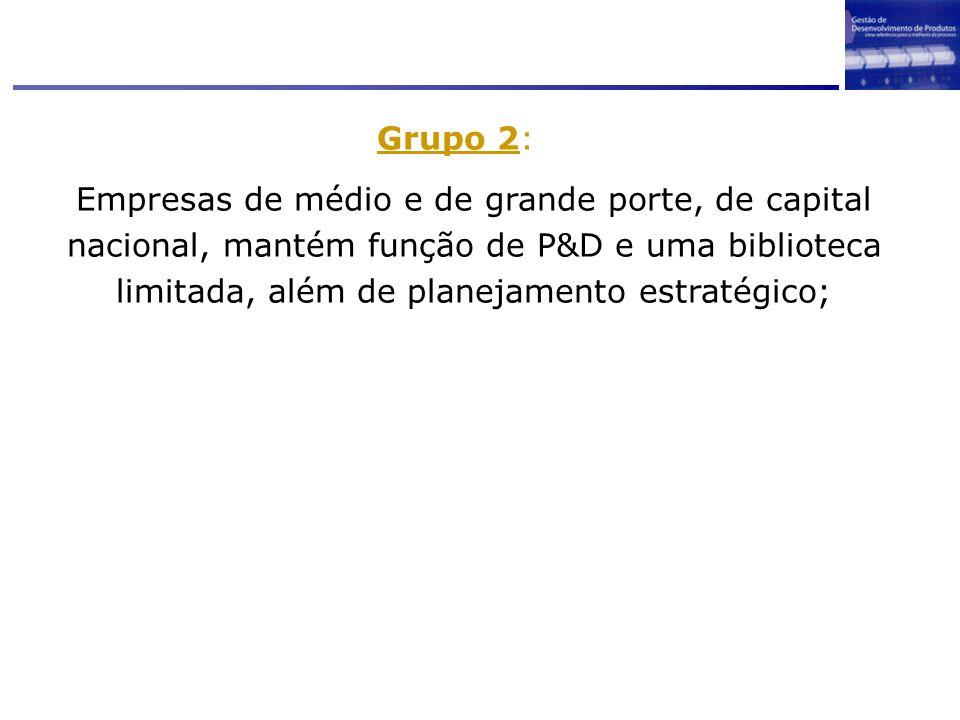 Grupo 2: Empresas de médio e de grande porte, de capital nacional, mantém função de P&D e uma biblioteca limitada, além de planejamento estratégico;