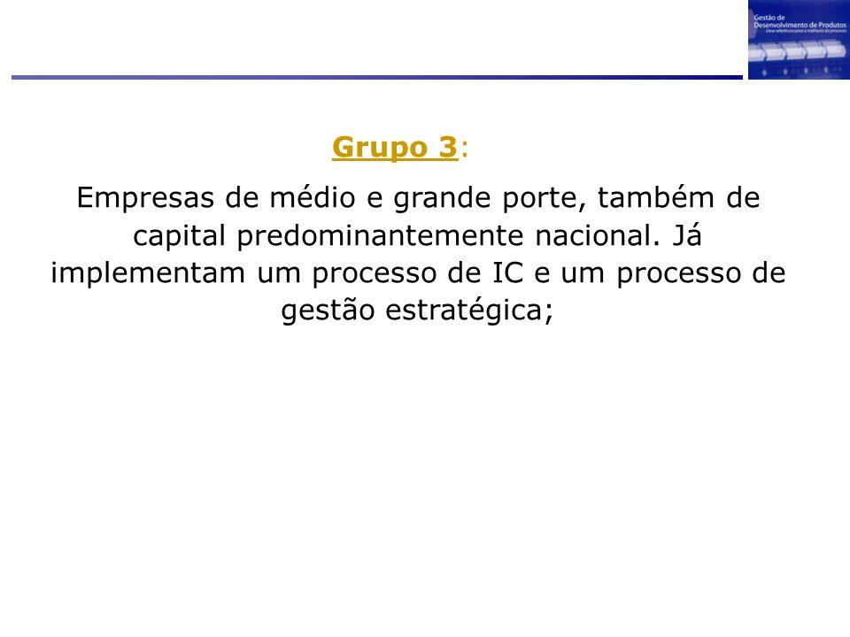 Grupo 3: Empresas de médio e grande porte, também de capital predominantemente nacional. Já implementam um processo de IC e um processo de gestão estr