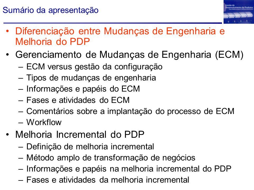 Sumário da apresentação Diferenciação entre Mudanças de Engenharia e Melhoria do PDP Gerenciamento de Mudanças de Engenharia (ECM) –ECM versus gestão