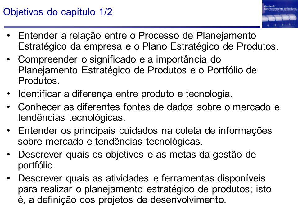 Objetivos do capítulo 1/2 Entender a relação entre o Processo de Planejamento Estratégico da empresa e o Plano Estratégico de Produtos. Compreender o