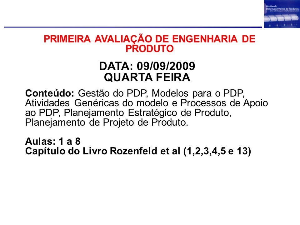 PRIMEIRA AVALIAÇÃO DE ENGENHARIA DE PRODUTO DATA: 09/09/2009 QUARTA FEIRA Conteúdo: Gestão do PDP, Modelos para o PDP, Atividades Genéricas do modelo